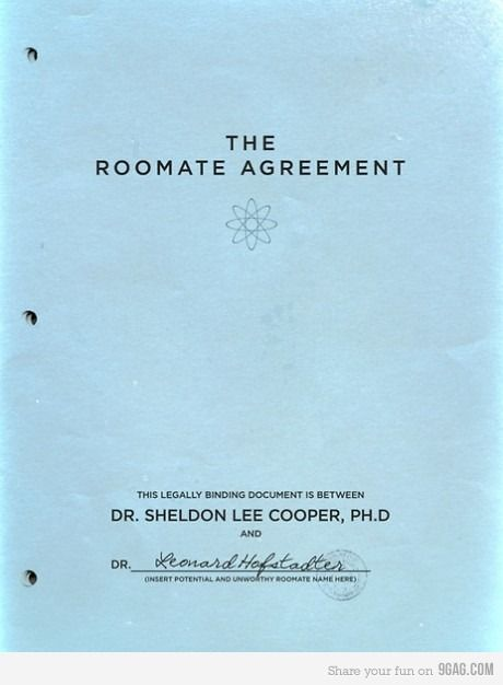 The Roommate Agreement Big bang theory, Bangs and Big - roommate agreement