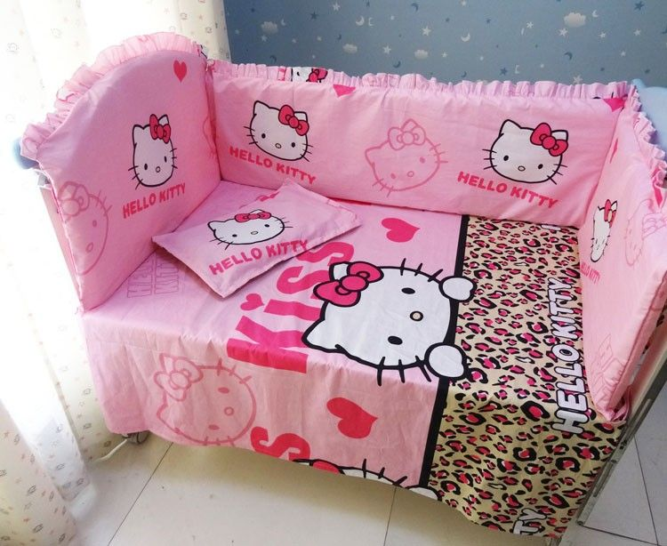 Hello Kitty Baby Bumper Baby Bedding Set Bumpers For Cot Bed Cotton  ,include:(bumper+sheet+pillow Cover)