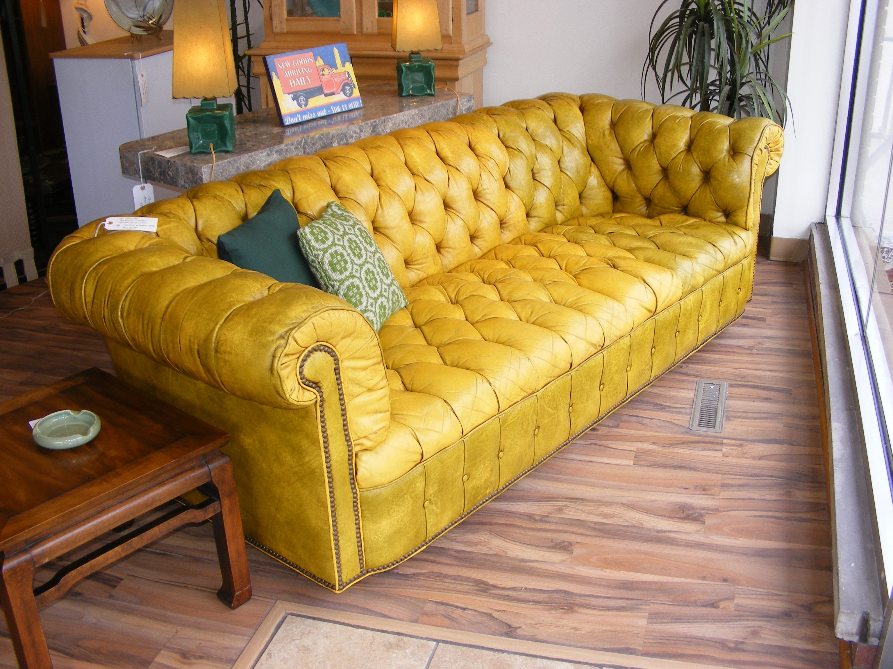 1972 Leather Hancock Moore Chesterfield Sofa In Chartreuse