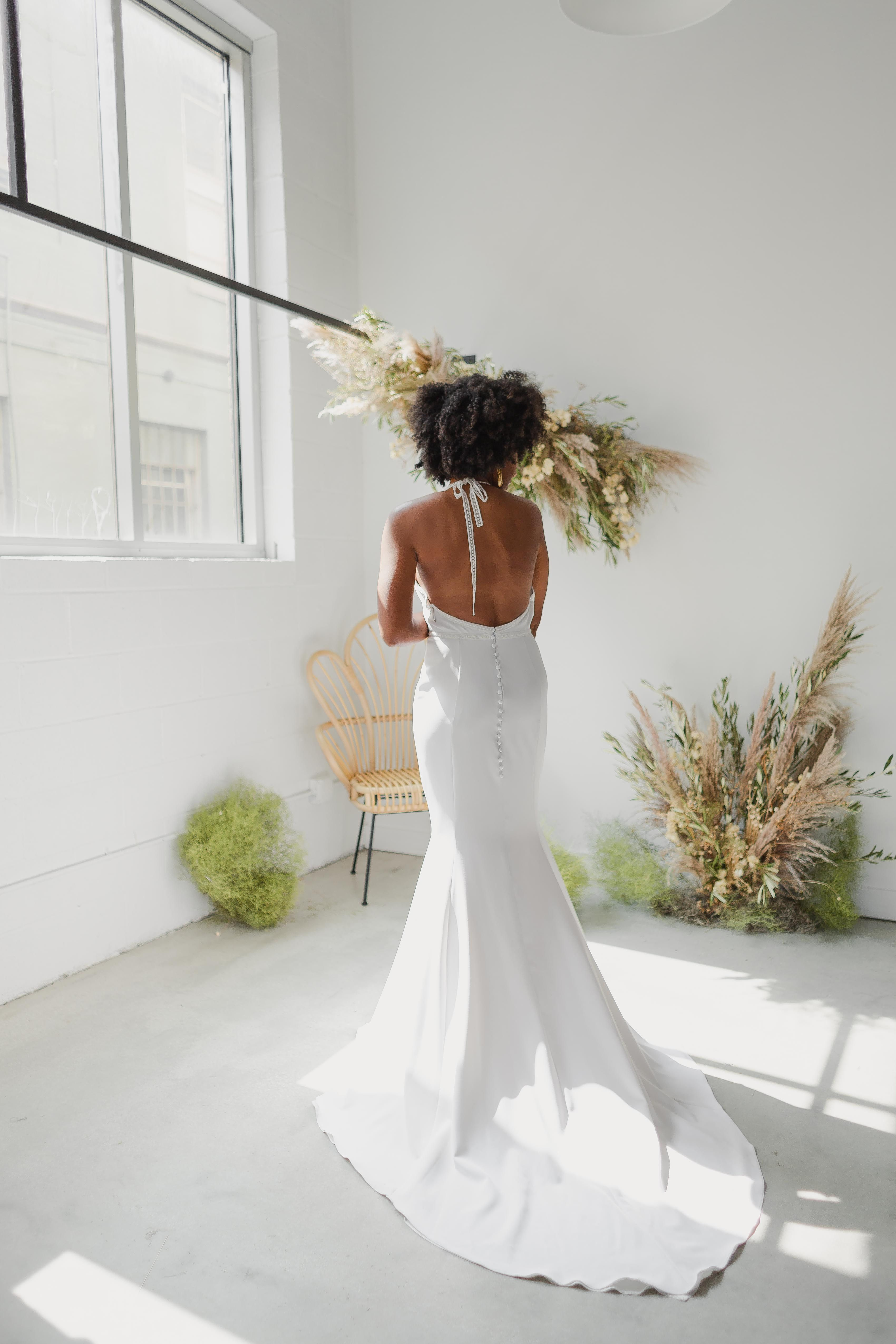 Brighton Gown By Goli June Bridal Fit And Flare Skirt High Neck Wedding Dress Geometric Lace [ 5100 x 3400 Pixel ]