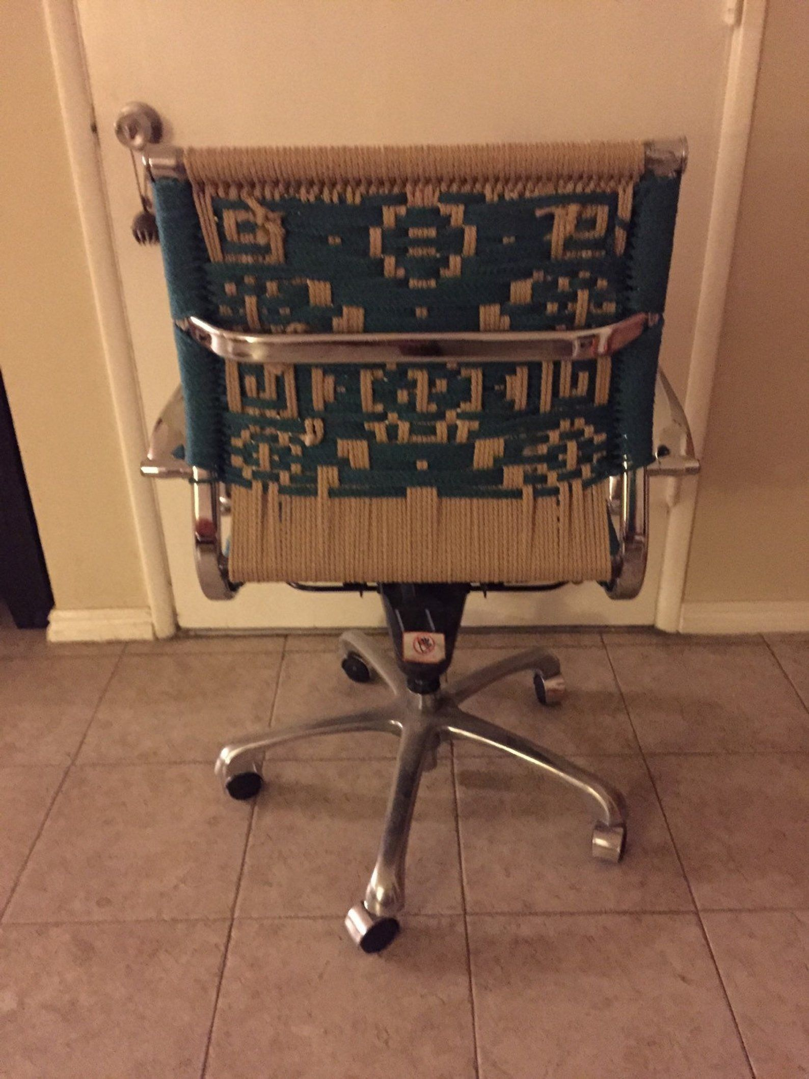 turquoise OOAK Up-cycled macrame office chair