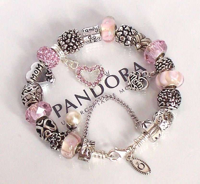 Charms For Bracelets Pandora: Authentic Pandora Silver Charm Bracelet Mothers Day Love