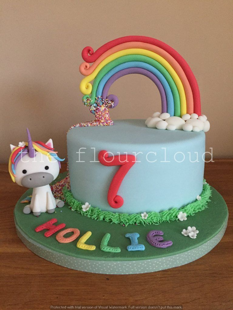 Rainbows and unicorns on this gorgeous birthday cake Childrens