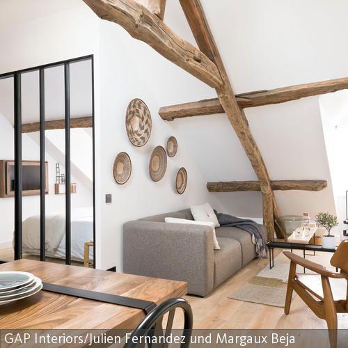 Rustikale Dachbalken als Stilelement Dachbalken, Wandteller und - einrichtung im industriellen wohnstil ideen loftartiges ambiente