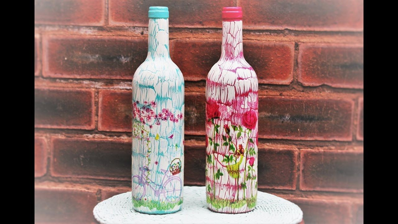 Decoupage Bottles With Easy Crackle Fast Easy Tutorial Diy Decoupage Tutorial Decoupage Diy Bottle Crafts
