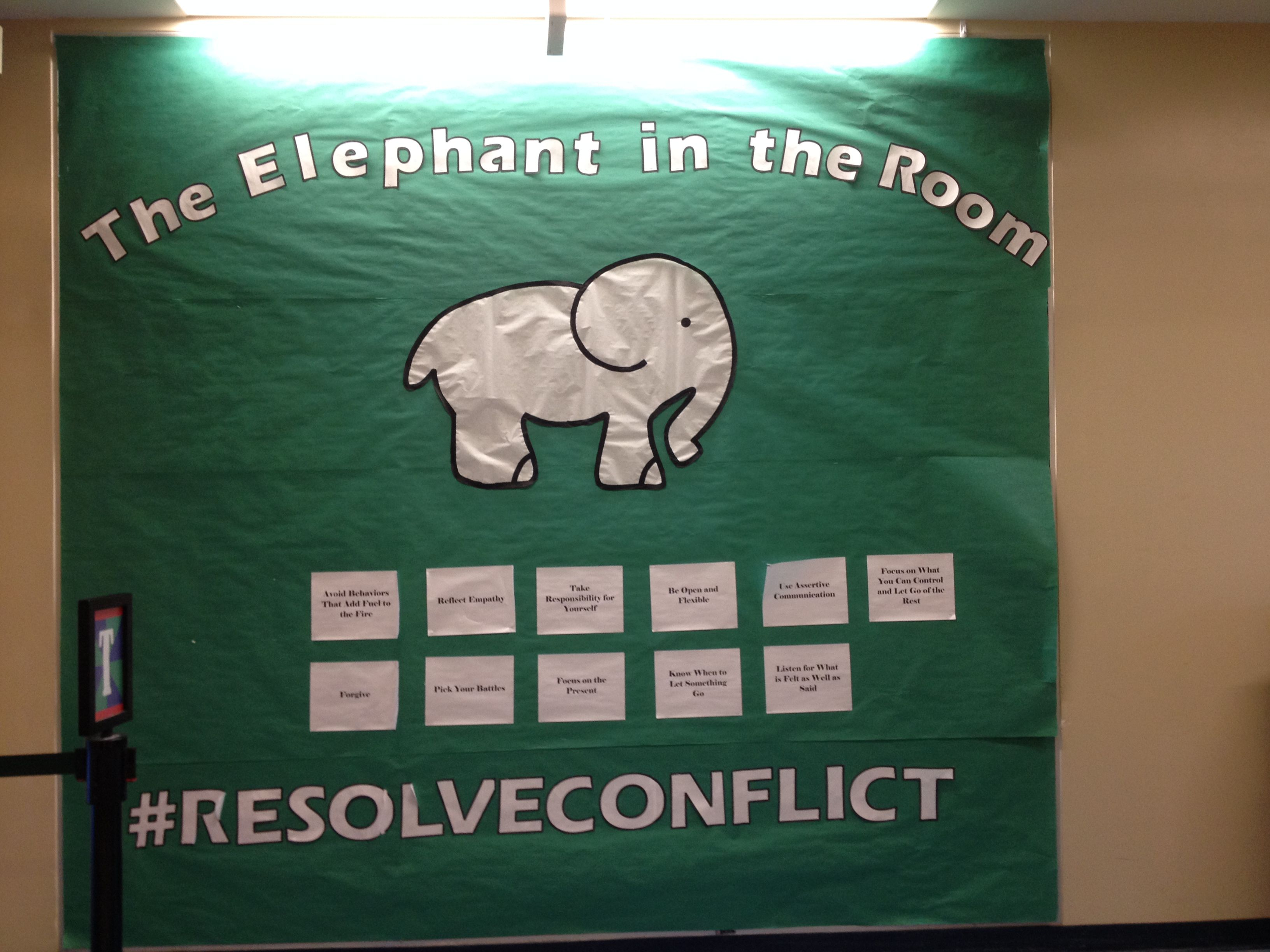 Needs Way More Color But It S A Great Idea Elephant In The Room Resolving Ra Bulletin Boards Program Ideas