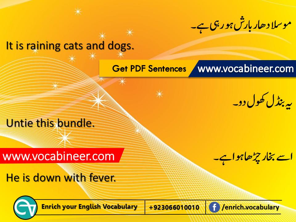 English to Urdu conversation PDF, Short English sentences