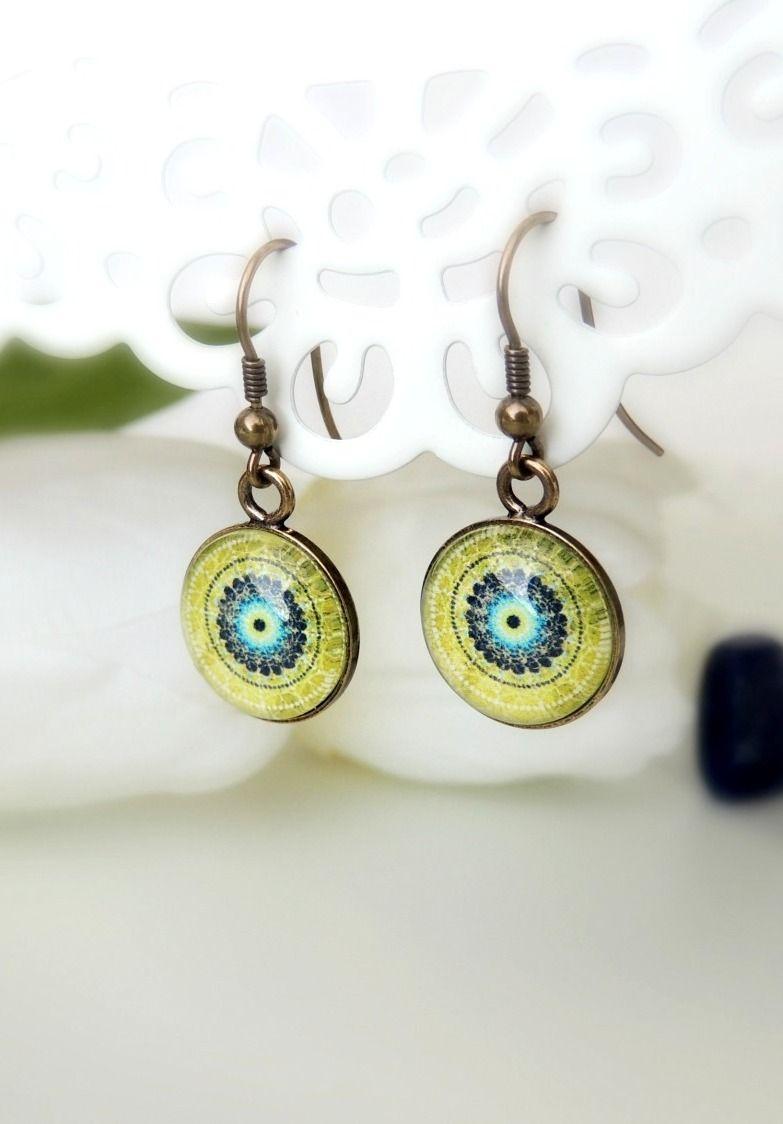 Green Earrings EARTH MANDALA Dangle Earrings Jewerly with ...