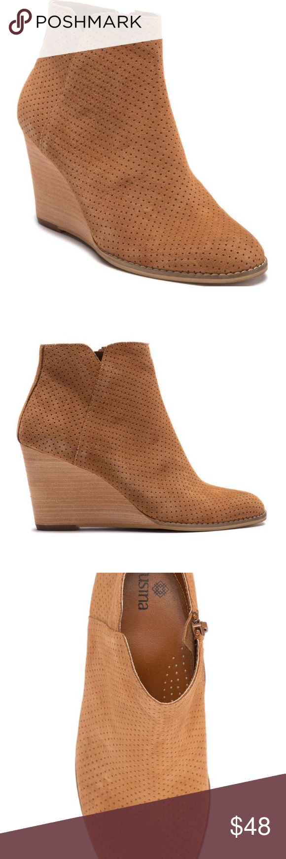 Susina Hannon Leather Wedge Bootie 8.5