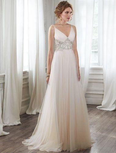 Etui-Linie V-Ausschnitt ärmellos Brautkleid - $189.99 | #1 bridal ...