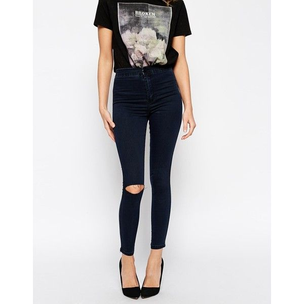 ASOS Rivington High Waist Denim Jeggings in Washed Blue Black with... (725 UYU) ❤ liked on Polyvore featuring pants, leggings, jeans, blueblack and asos