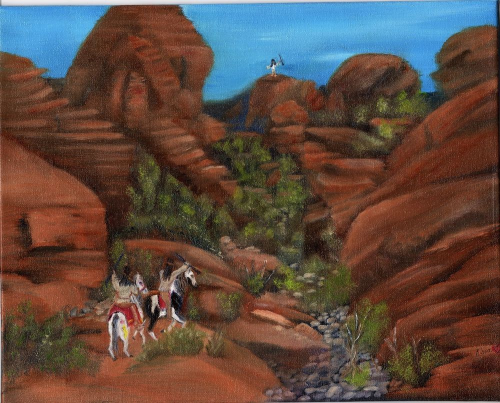 Org Oil Painting  8x10in Native American Indian Desert Landscape  Nova Hart #Realism