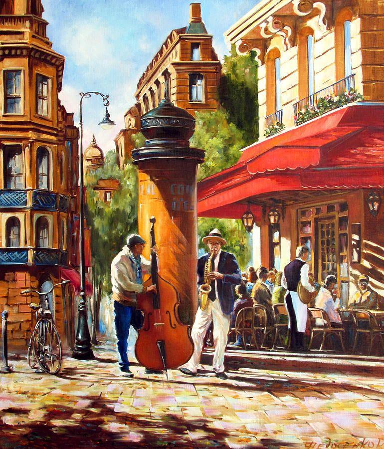 Paris Painting - Paris, Street Musicians by Roman Fedosenko