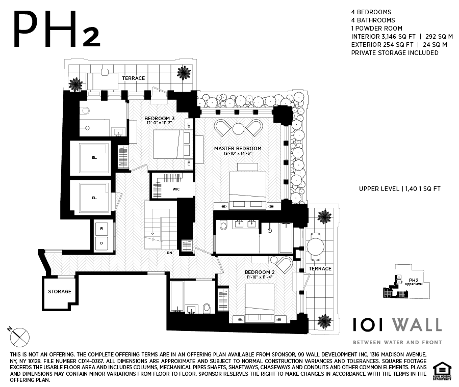 Wall Street Apartments: Corcoran, 101 WALL ST, Apt. PH2, Financial District Real