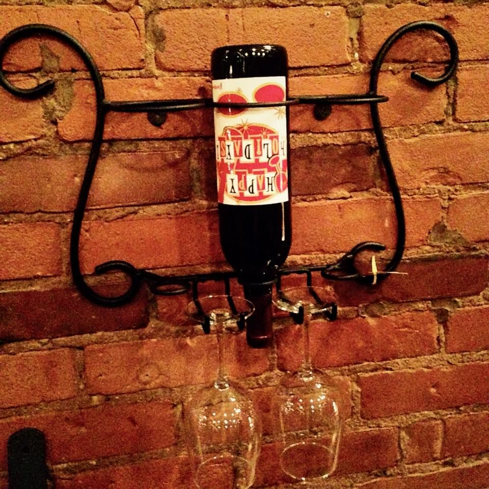 3 bottle wall wine rack with glass holder Bottle wall