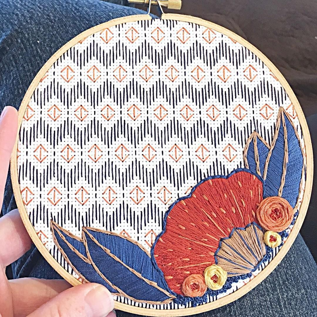 """I don't have anything new to post, so I'm sharing this hoop I made a few months ago. I never posted a picture of the finished hoop, because I gave it to my mom. But every time I'm at her house I look at it and think """"I have to do that one again!!"""" Maybe this summer..."""