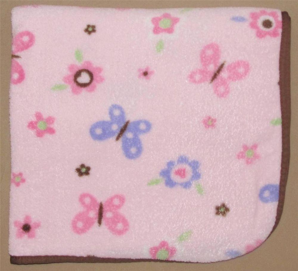 Pink Fluffy Baby Blanket Purple Butterflies Brown Flowers