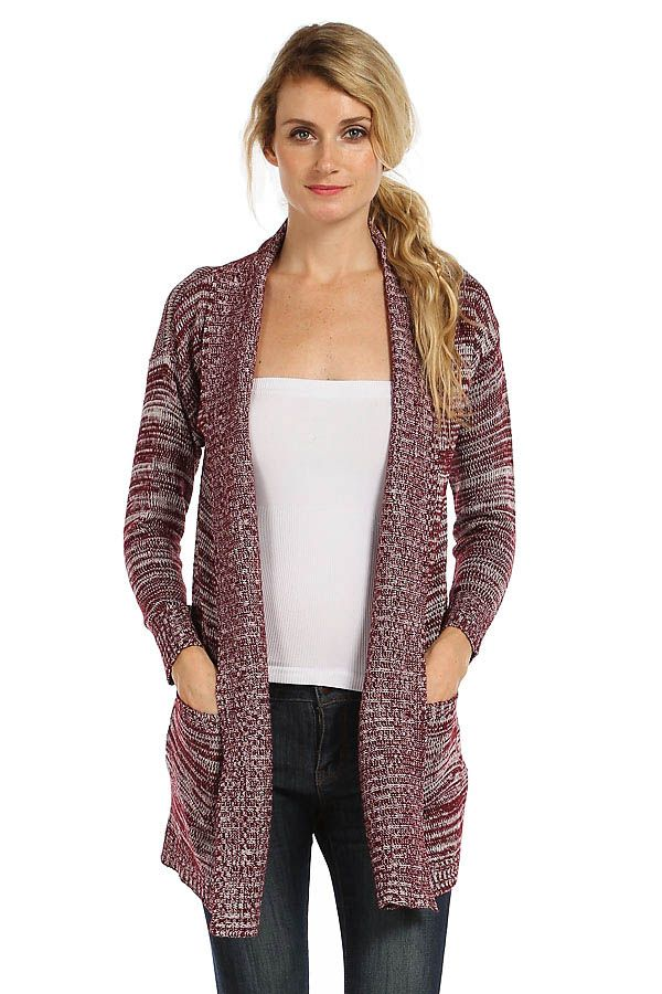 SOLID OPEN KNIT MAXI CARDIGAN- Burgundy | Cardigans | Pinterest ...