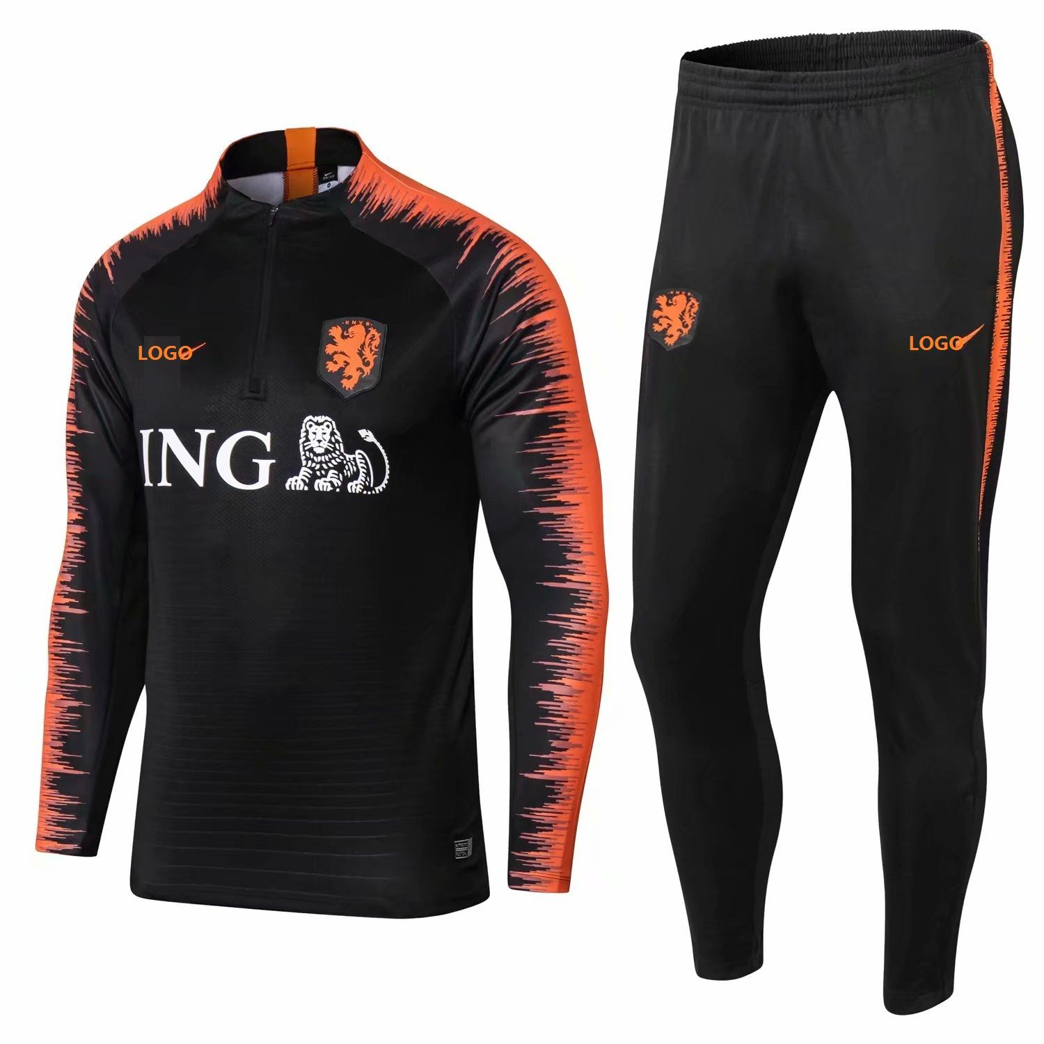 2018 2019 Men Black   Orange New Set Football Tracking Netherlands  Tracksuits e4e9ea9b71957