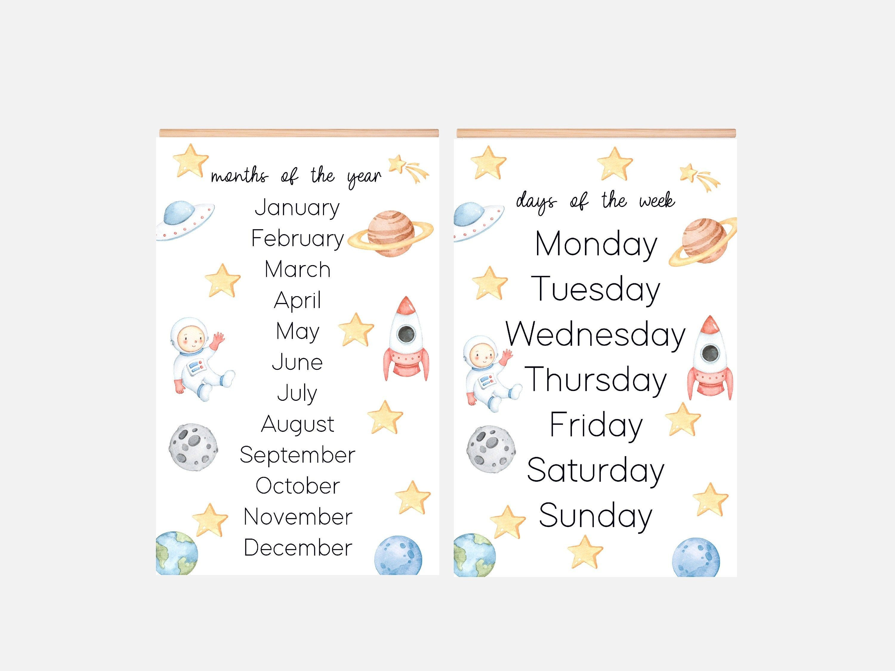 11x17 Set Of 2 Laminated Posters Educational Homeschool Etsy In 2020 Months In A Year Education Poster Homeschool