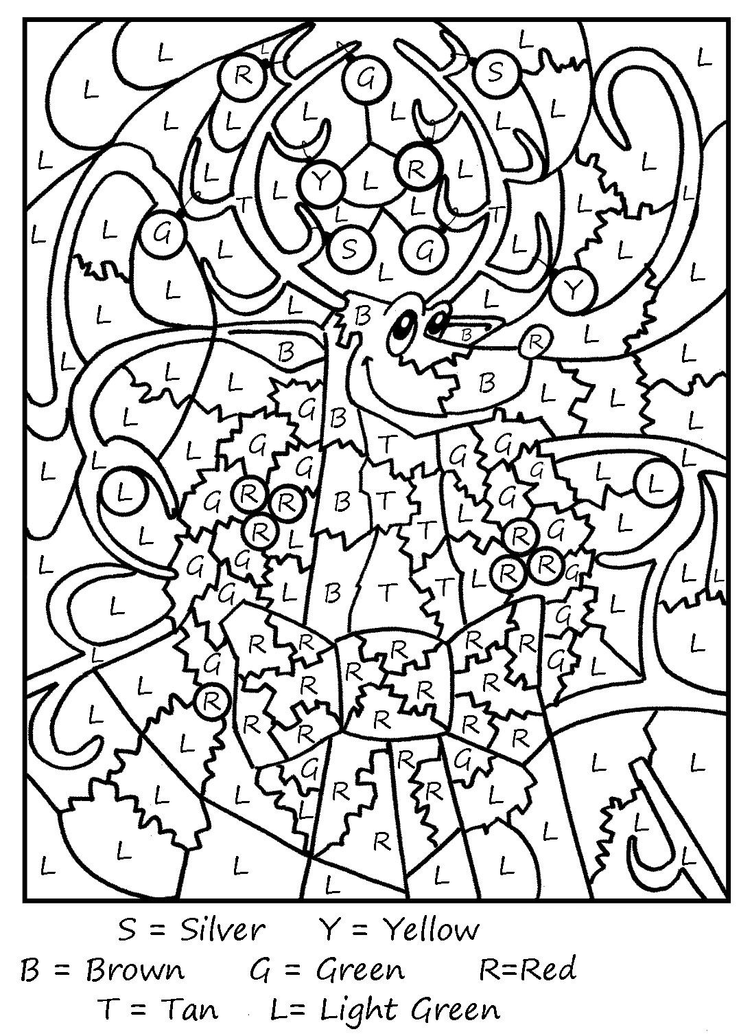 Color By Letters Coloring Pages - Best Coloring Pages For Kids   Printable  christmas coloring pages [ 1508 x 1096 Pixel ]