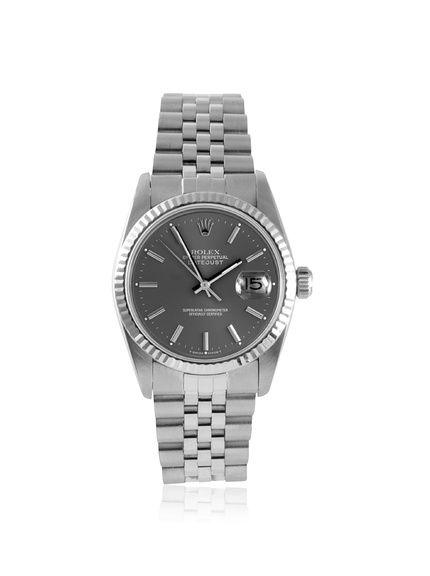 Rolex Men's Datejust Slate Stainless Steel/White Gold Watch at MYHABIT