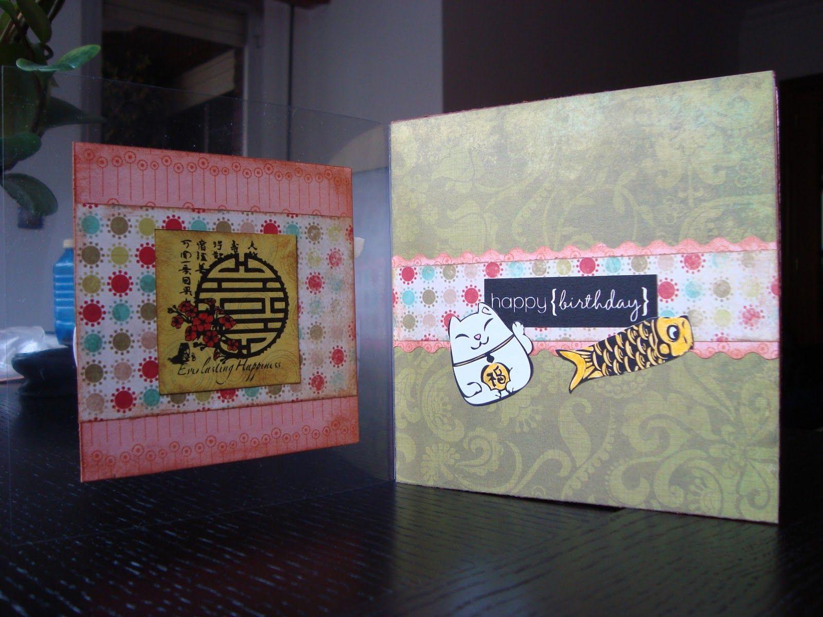Tarjeta Scrapbook Kokeshi Con Imagenes Tarjetas Scrapbook