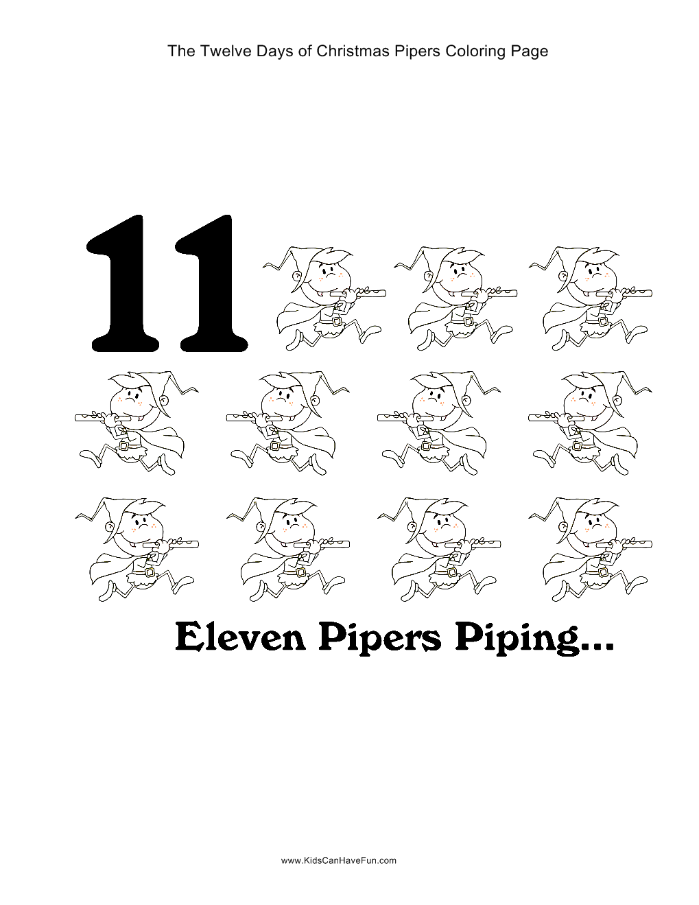 12 Days of Christmas eleven pipers piping coloring page #christmas ...