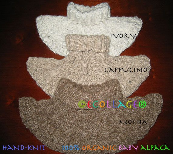 Hand Knit Cowl in 100% Organic Baby Alpaca by ecollageArt