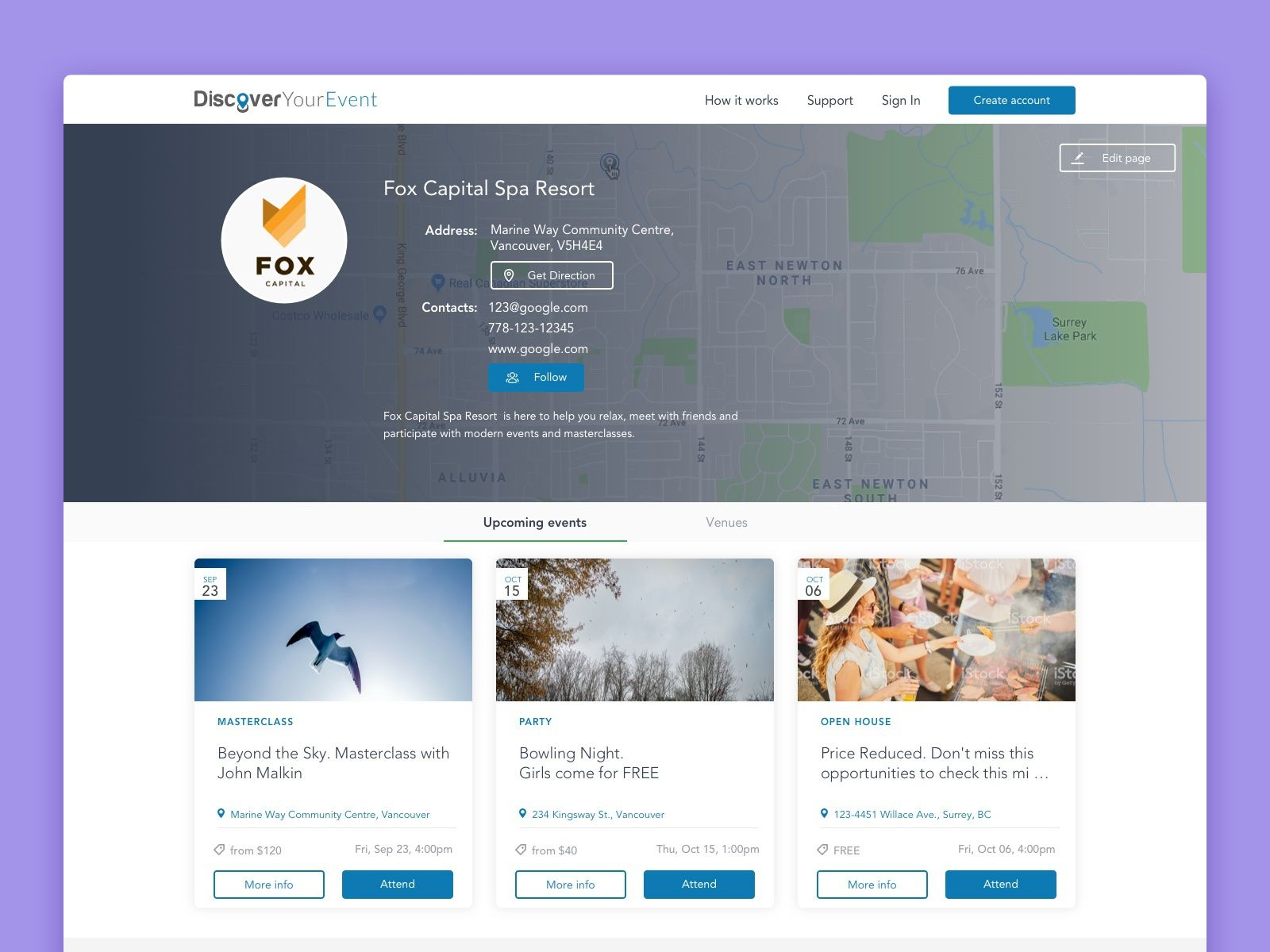 Inner Page For Event Aggregator In 2020 Lake Park Event Event Venues