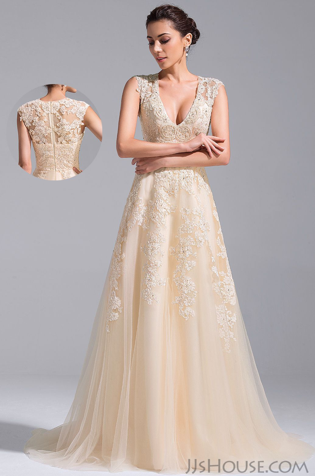 Big girl wedding dresses  The Vneck wedding dress will be perfect for your big day JJsHouse