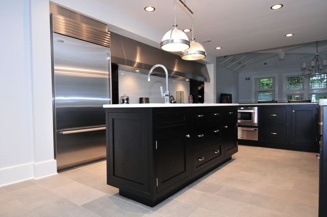 Black Shaker Kitchen Cabinets | Black Kitchen Cabinets | Pinterest ...