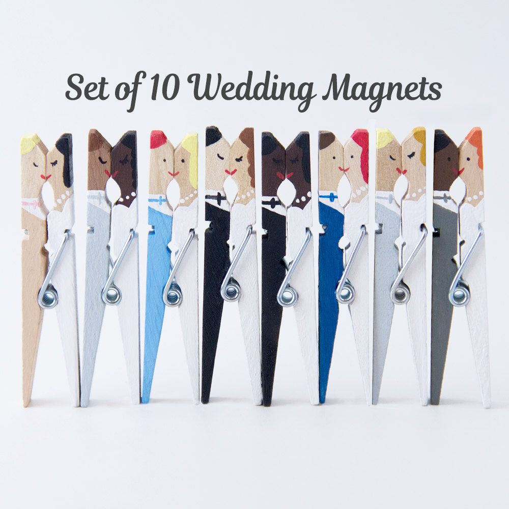 Custom Wedding Magnets, Personalized Bride and Groom Clothespins ...