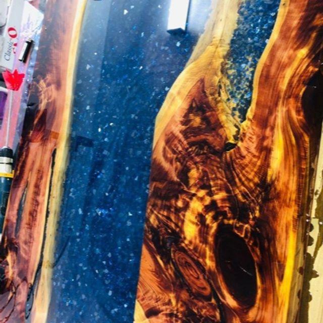 Artist Submission - @josephsalinas6407 on Instagram  #fireglass #epoxyresin #epoxy #epoxytable #epoxyart #epoxycoating #resinepoxy #epoxywood #epoxyresinart #rivertable #epoxyrivertable