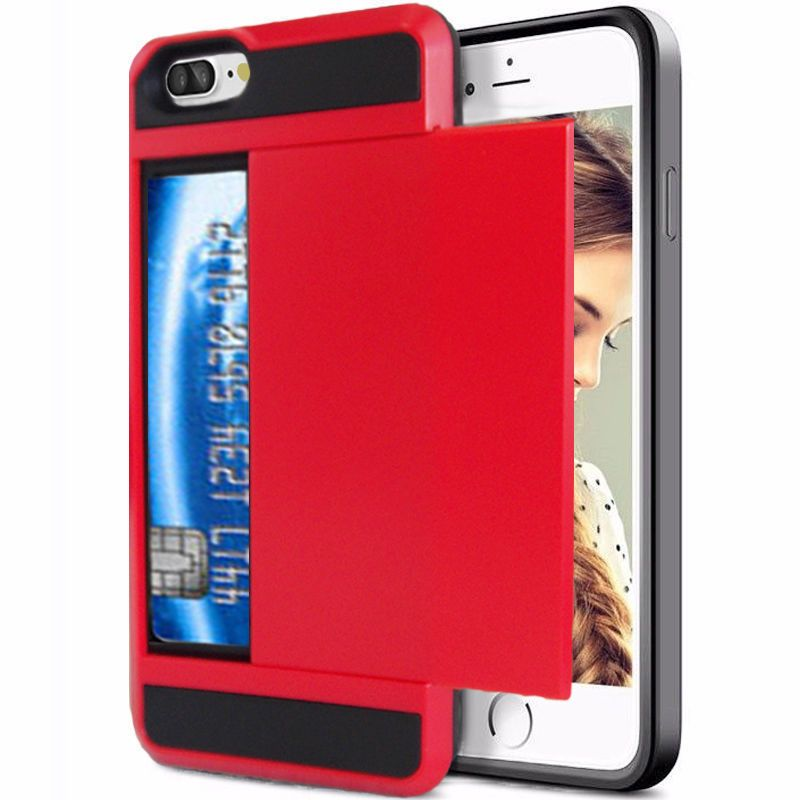 Red Slide Credit Card Case for Apple iPhone 7 PLUS Shockproof Protective Cover #Unbranded