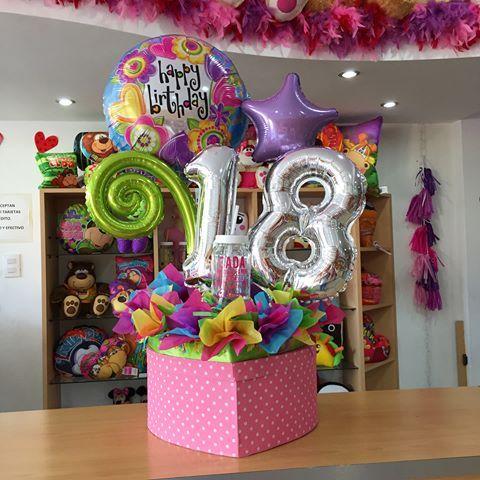 Caja De Regalo Con Tapa Decorada Fotos Felices 18 Birthday Candy Bouquet Birthday Gift Baskets Balloon Gift