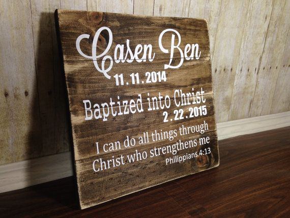Personalized Baptism Gift Rustic Baptism Gift Wood