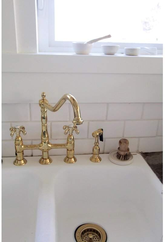French Country Bridge Faucet With Optional Side Spray Bridge