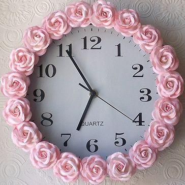 Pink Rose Clock For The Baby Easy To Make With Hotglue Craft I Rose Clock Pink Clocks Rose Wall
