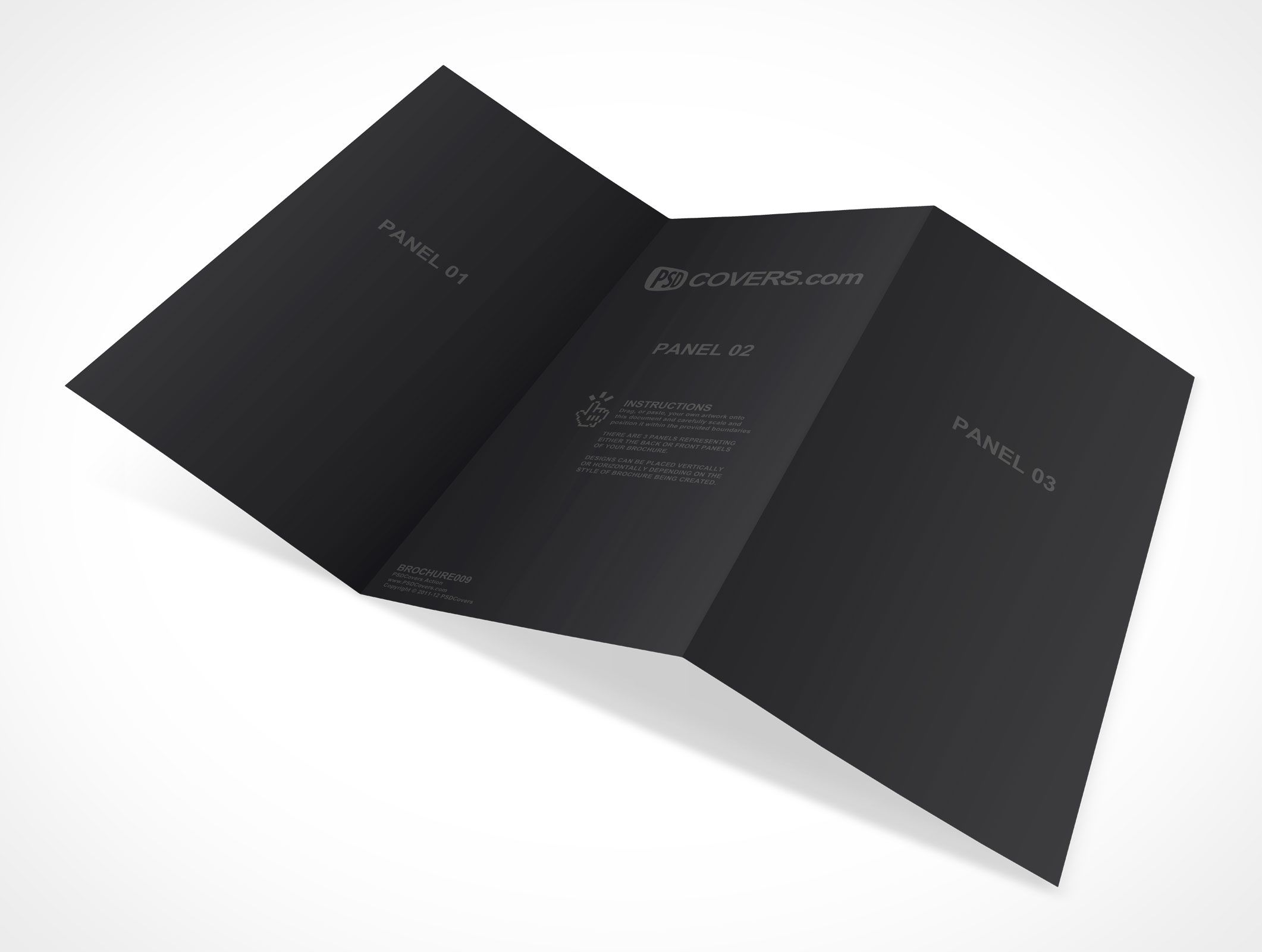 brochure009 is a psd mockup action of a horizontal trifold 3 panel