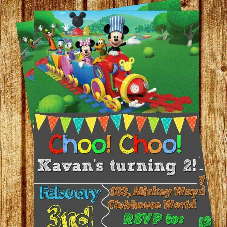 Mickey Mouse Choo Choo Train Invitation Any Age Digital File – Choo Choo Train Birthday Invitations