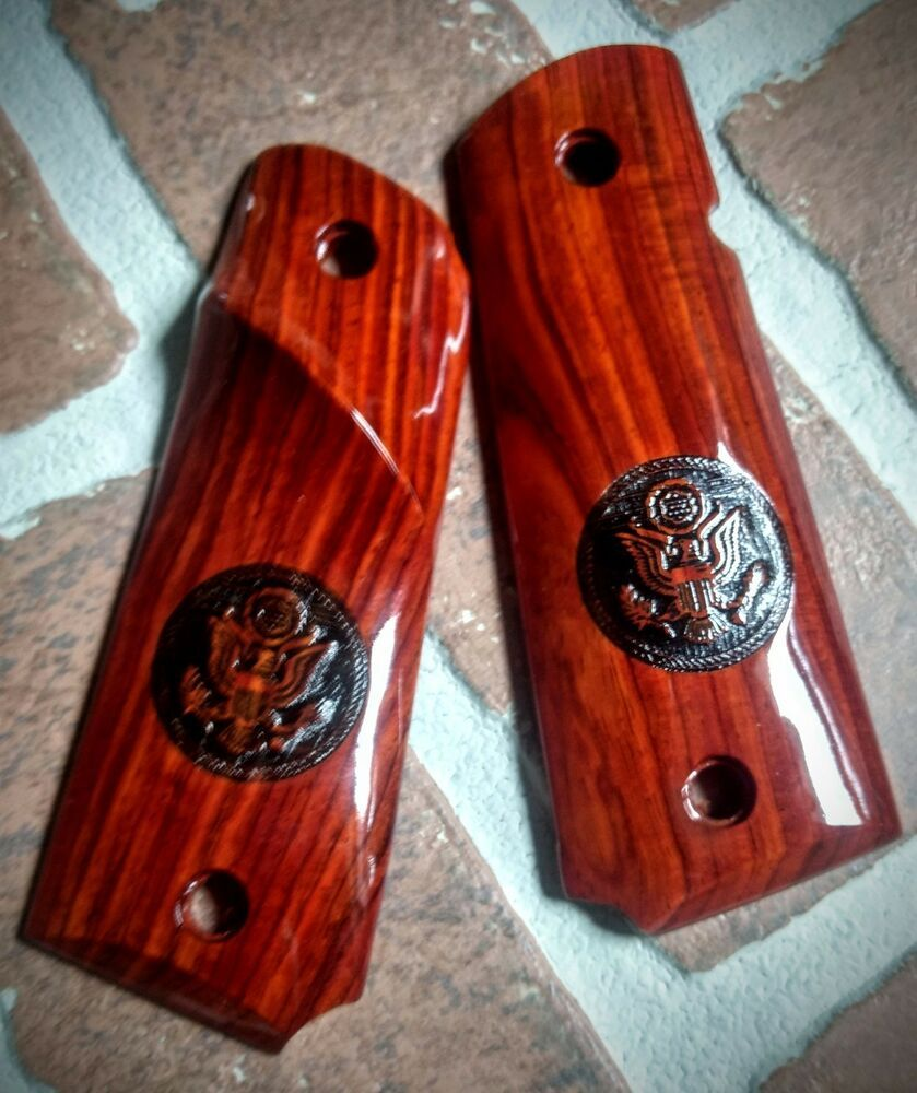 Full Size Cocobolo Smooth 1911 Grips  US Army Logo ambi