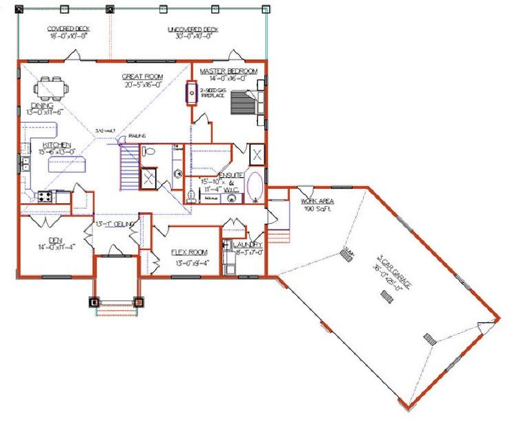 Attached angled to the right garage house plans google for Right angle house