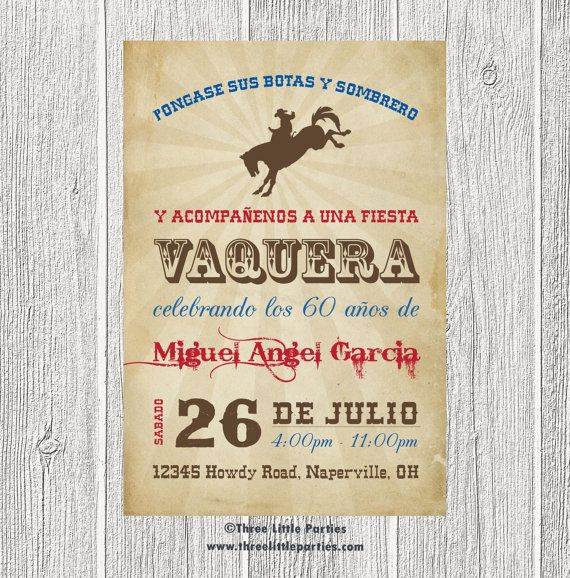 Español Vaquero Invitación Fiesta Vaquera Por ThreeLittleParties - Birthday party invitation in spanish