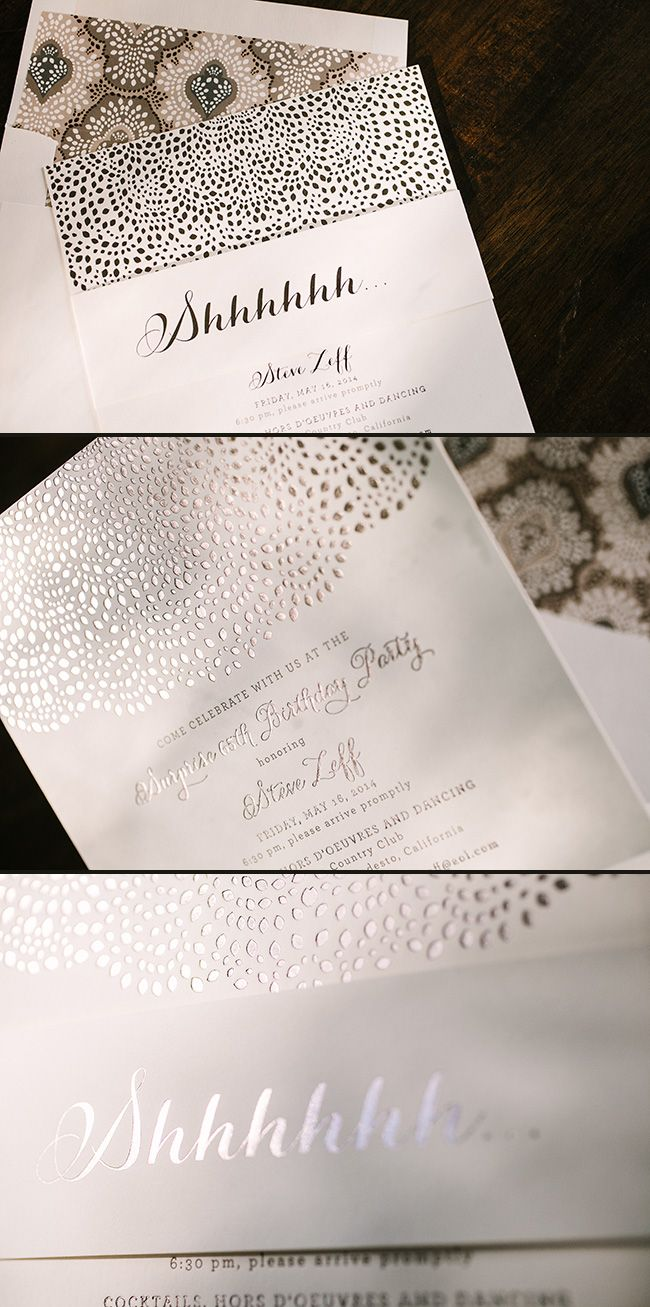 These custom surprise birthday party invitations were letterpress ...