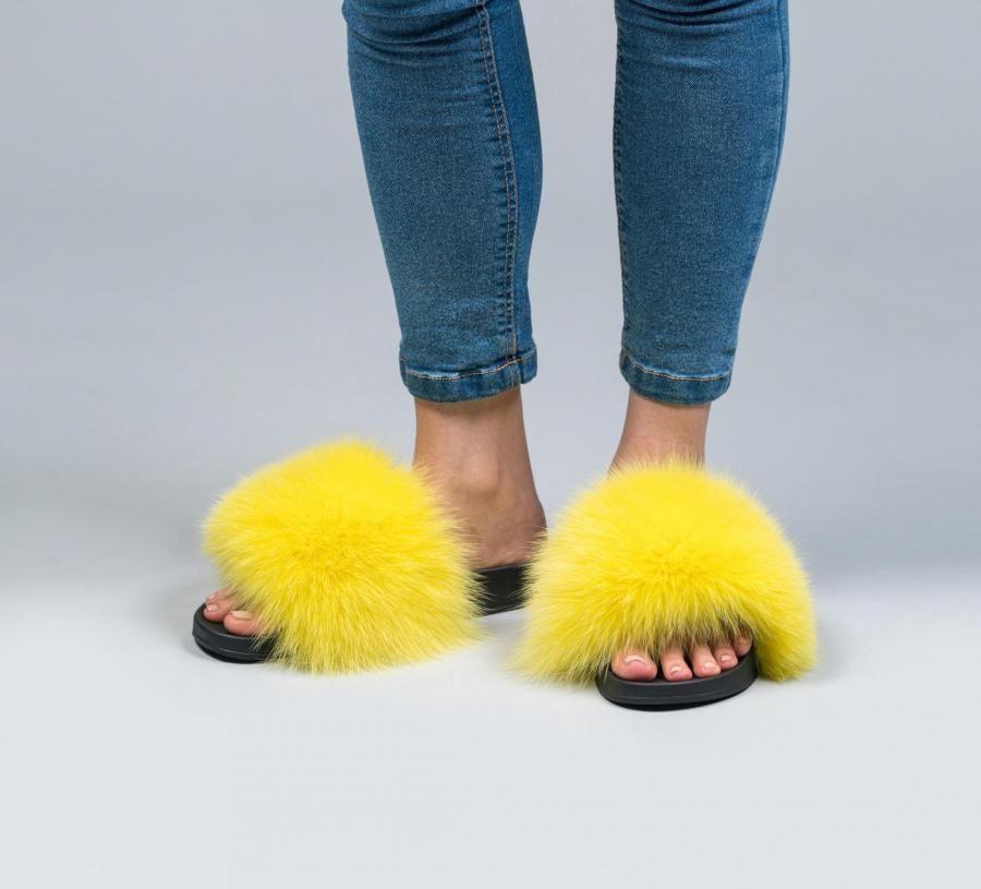 19d3b4afaf924 Lemon Fox Fur Slides in 2019 | Slides | Fur slides, Fluffy slides ...