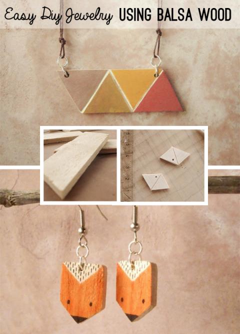 Make Geometric Modern Jewelry With Balsa Wood Wood Jewelry Diy Wood Jewellery Easy Diy Jewelry