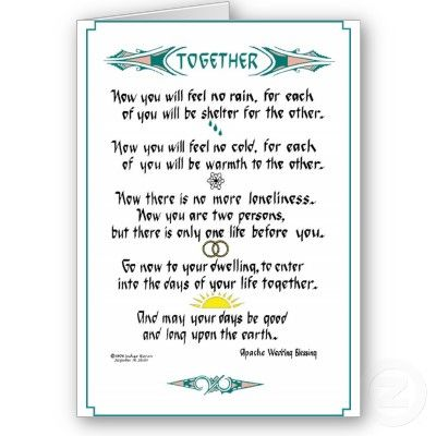 Apache Wedding Blessing Card Native American