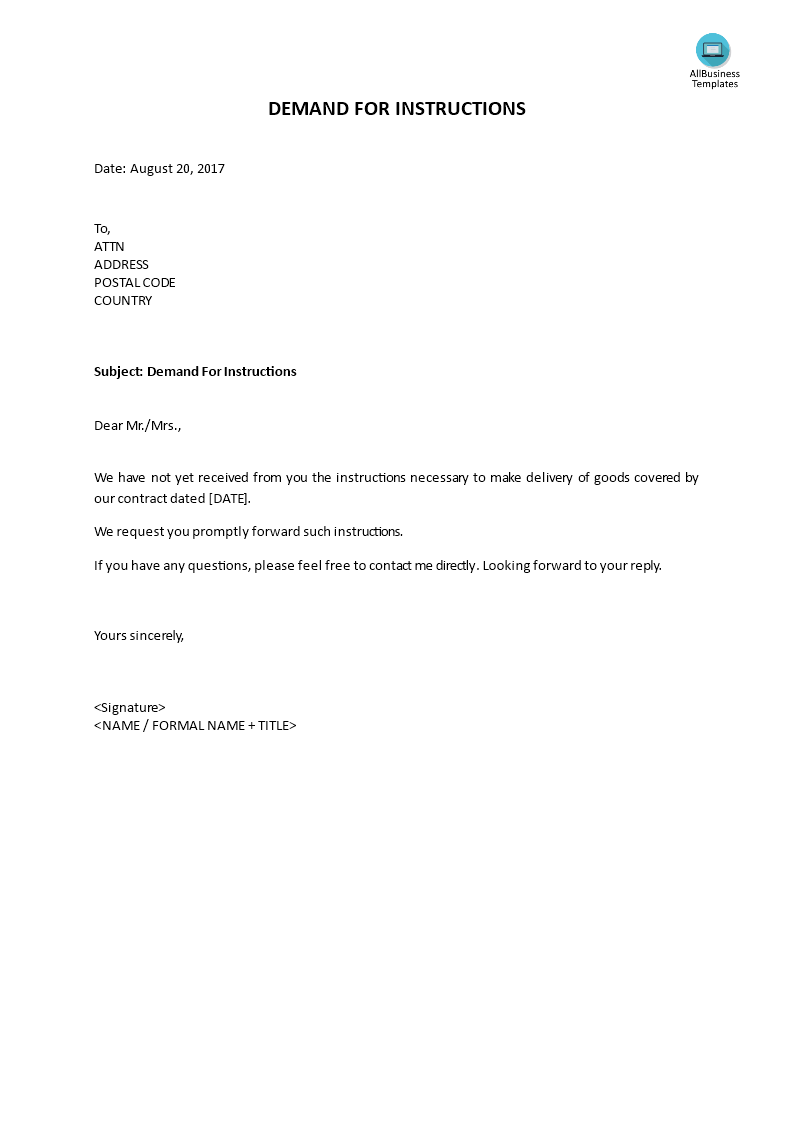 Demand For Instructions How To Write A Demand For Instructions Download This Demand Letter Citing The Need For Instr Templates Instruction Business Template