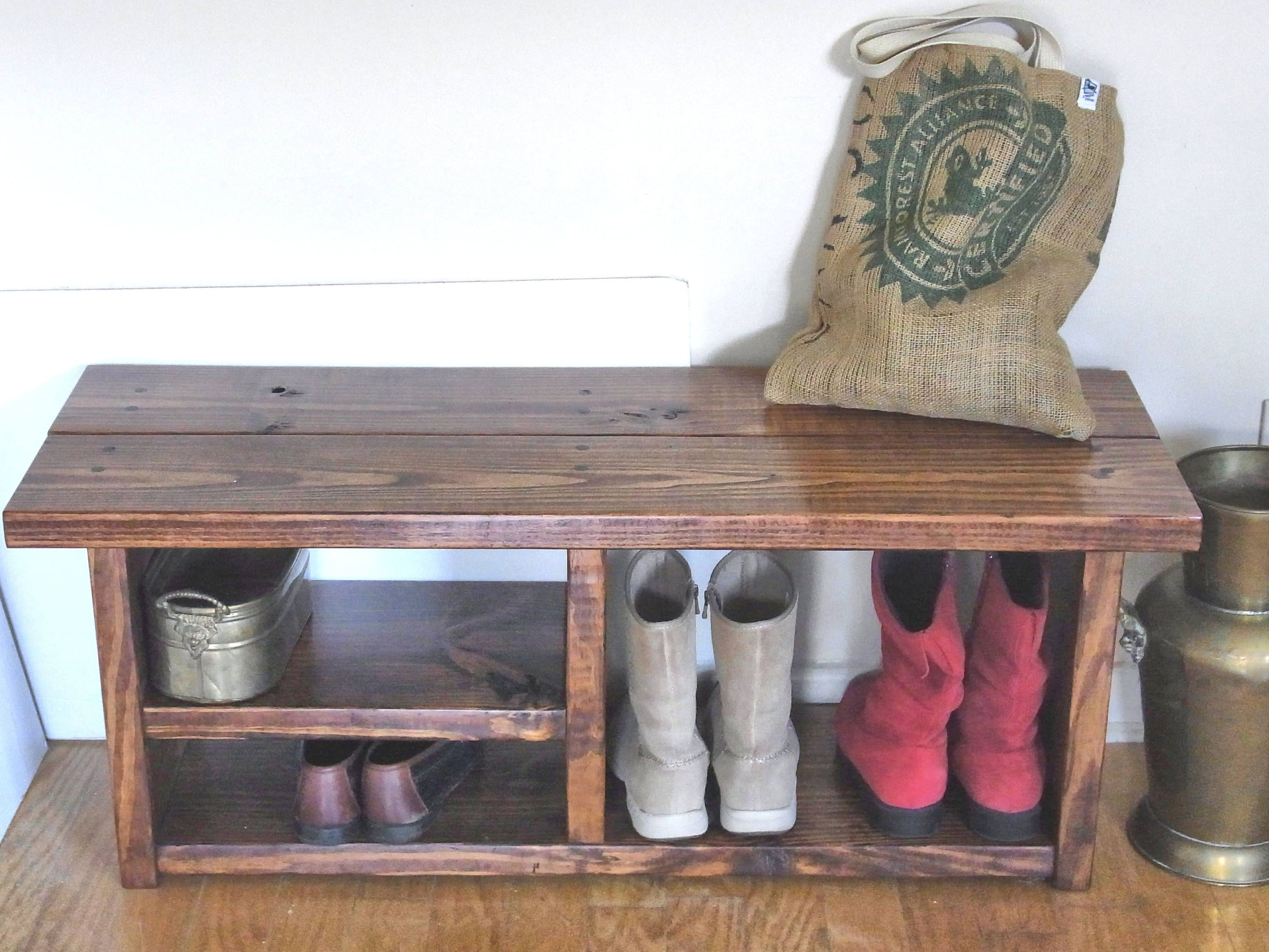36 Inch Boot Cubby Rustic Bench Shoe Bench Entryway Hallway Etsy Shoe Bench Entryway Diy Storage Bench Shoe Bench